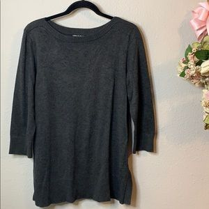 Cable & Gauge Scoop Neck 3/4 Sleeve Thin Sweater
